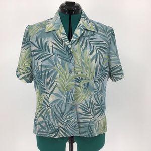 Alia Petite 8 Fern Patterned Short Sleeve Blouse